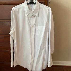 Brooks Brothers white, button down dress shirt.